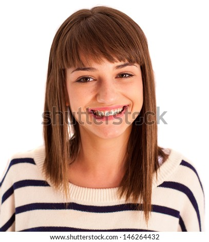 young woman smiling on white background - stock photo