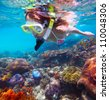 Young woman snorkeling in a tropical clear sea over vivid coral reef - stock photo