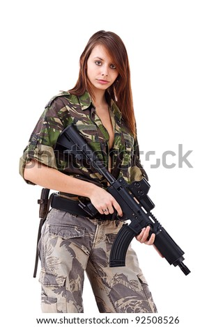 Young woman soldiers with guns, isolated on white background