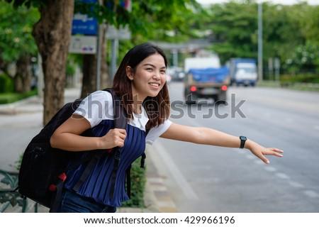 Asian girls on bus
