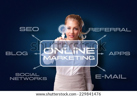 young woman starts online marketing campaign - stock photo