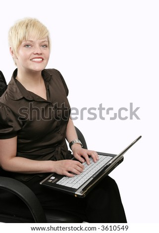 Young woman surfing on the world wide web - stock photo