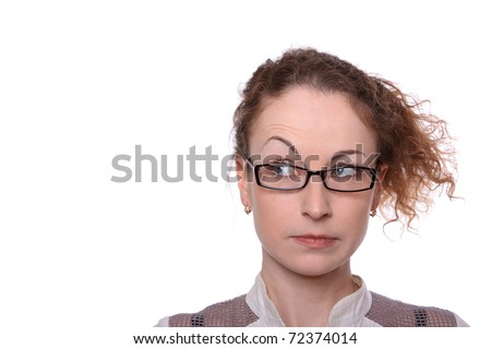 Young woman surprised sceptic look isolated on white