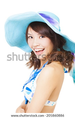 young woman swear bikini suit and a sun hat. isolated on a white background - stock photo