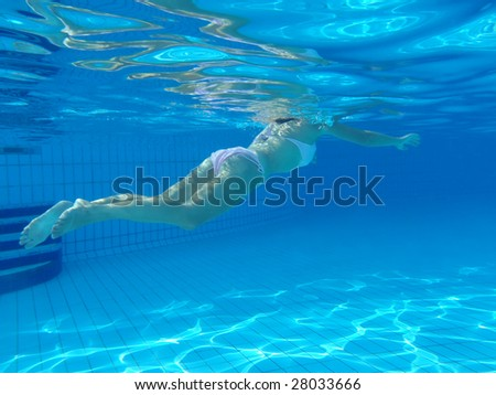 Young woman swimming in the swimming pool.
