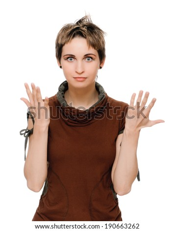 young woman talking and gesticulating. on white isolated - stock photo