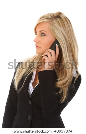 Young woman talking on telephone - stock photo