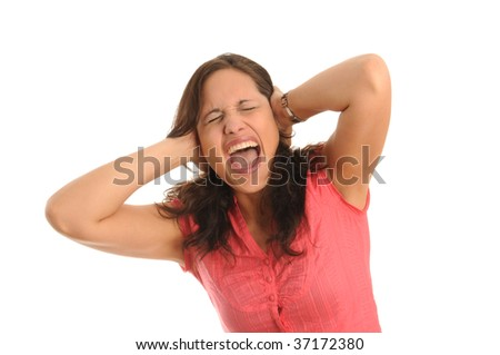 young woman,terrible angry because of noise.