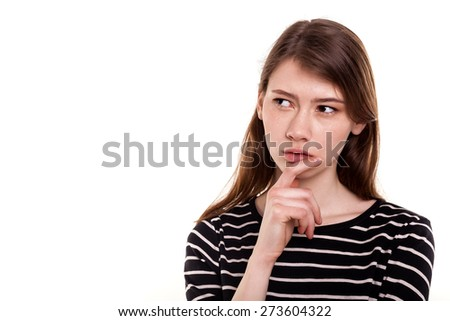 Young woman thinking hand on chin isolated Stock Image - stock photo