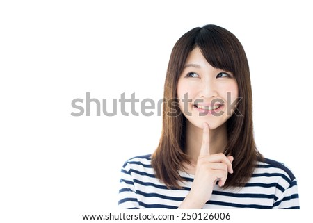 young woman thinking isolated on white background - stock photo