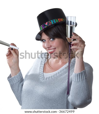 Young woman toasts New Years; isolated on a white background. - stock photo