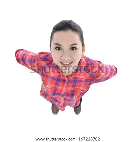 Young woman top view looking up to camera - stock photo