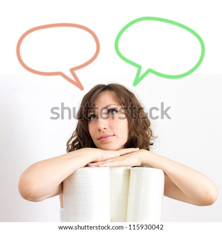 Young woman trying to make a decision over white background - stock photo