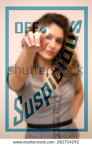 young woman turning off Suspicious on screen - stock photo