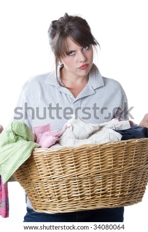 Young woman upset about having to do laundry; isolated a a white background. - stock photo