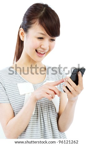 Young woman using by mobile phone. Portrait of asian woman.