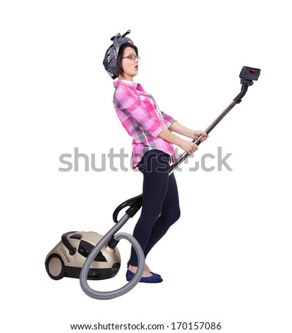 Young woman using vacuum cleaner. Isolated on white - stock photo