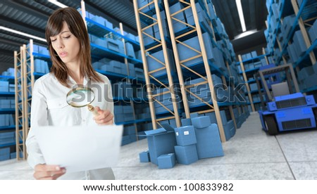 Young woman verifying document with magnifying glass in a distribution warehouse