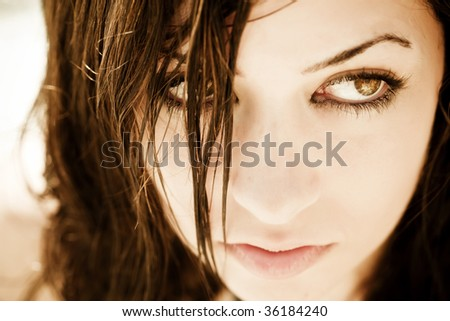 Young woman very close portrait . - stock photo