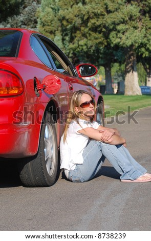 Young Woman Waiting for Gas - stock photo