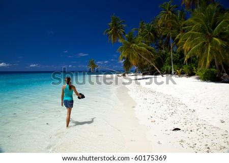 Young Woman Walking Along The Beach! - stock photo