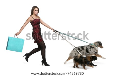 Young woman walking dogs on leash and holding shopping bag - stock photo
