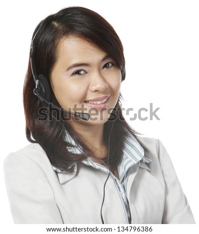 Young woman wearing a headset - stock photo