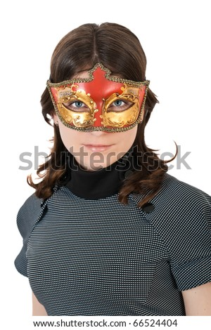 young woman wearing a mask - stock photo