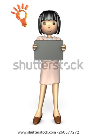 Young woman wearing a suit. She is showing the tablet. - stock photo