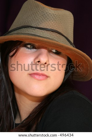 Young woman wearing Aussie hat
