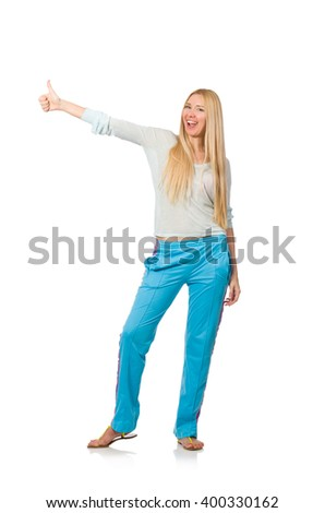 Young woman wearing blue training pants isolated on white - stock photo