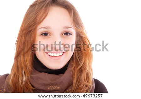 Young woman wearing brown clothes, isolated on white background. - stock photo