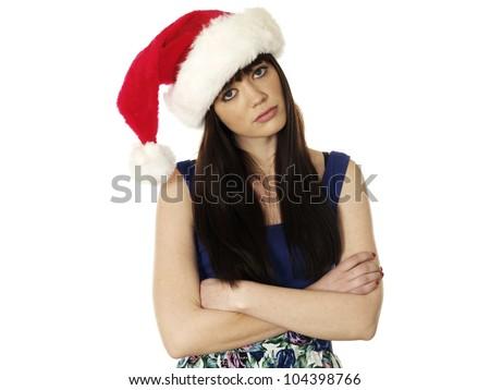 Young Woman Wearing Christmas Santa Hat - stock photo