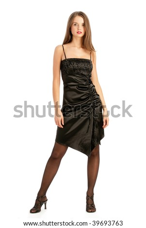 Young woman wearing elegant cocktail dress isolated on white background - stock photo