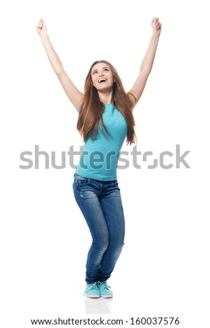 Young woman wearing fashion glasses cheering
