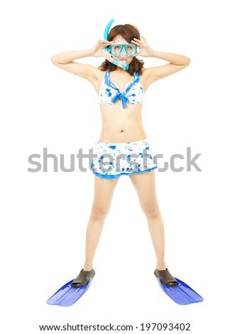 young woman wearing scuba diving equipment. - stock photo