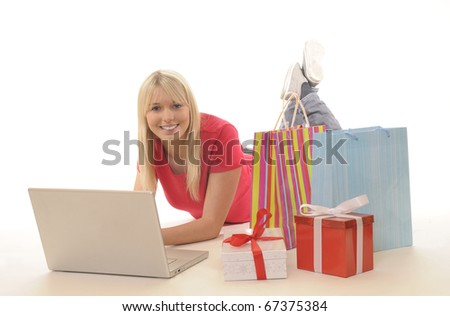 young woman while online-shopping - stock photo