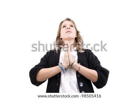 Young woman wishing for good things, shot on white background. - stock photo