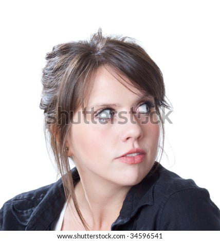 Young woman with a backward glance; close-up; head and shoulders view; isolated on a white background. - stock photo