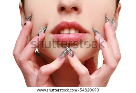 young woman with a beautiful manicured - stock photo