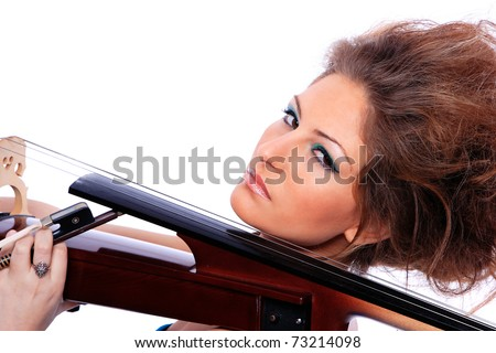 Young woman with a cello over white background
