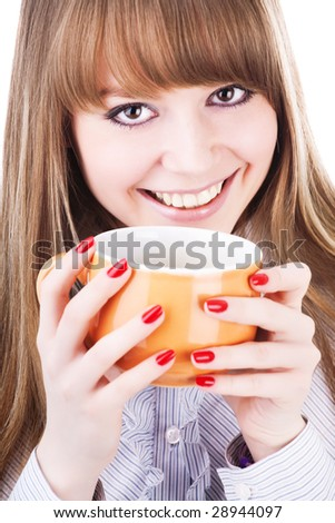 Young woman with a cup of hot drink on the white - stock photo