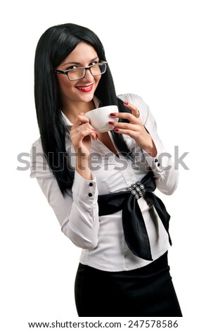 Young woman with a cup on a white background - stock photo