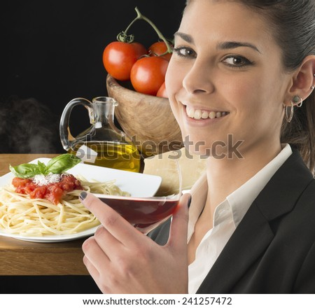 young woman with a glass of red wine  - stock photo