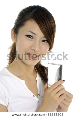 young woman with a glass of water - stock photo