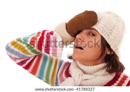 Young woman with a headache on winter (isolated on white) - stock photo