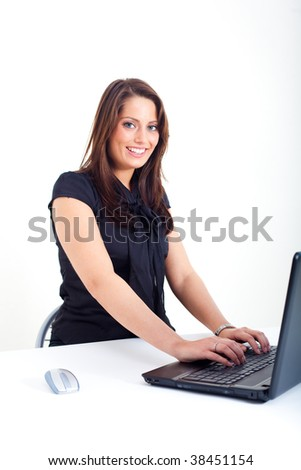 Young woman with a notebook - stock photo