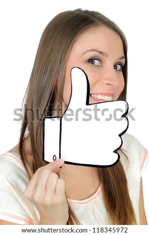 Young woman with a positive, hand made like sign - stock photo