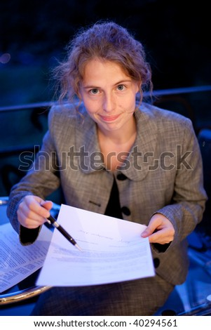 young woman with agreement - stock photo