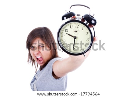 young woman with alarm clock screaming isolated in white background - stock photo